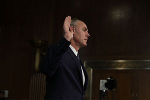 Secretary of Interior Rep. Ryan Zinke (R-MT) is sworn in during his confirmation hearing before Senate Energy and Natural Resources Committee January 17, 2017, on Capitol Hill in Washington, D.C.