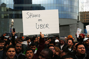 Uber drivers protest company fare cuts last year and go on strike in front of the car service's New York offices on February 1, 2016, in New York City.