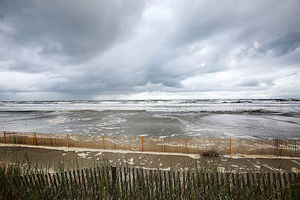 The coast of Grand Isle ahead of Tropical Storm Karen on October 4, 2013, in Grand Isle, Louisiana.