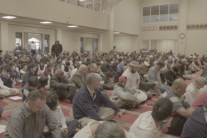 Brown men and boys in multi-colored clothing kneel in prayer on red rugs in mosque with beige walls