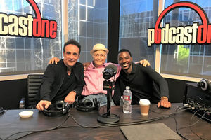 Paul Hipp, Norman Lear, Jerrod Carmichael: Three men sit at table with microphones