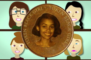 Black girl in copper animation surrounded by animations of four White girls in multicolored clothing on sea green background with brown dividing borders