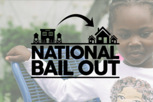 """Little Black girl, words: """"National Bail Out."""""""