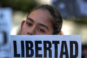 Fatima Avelica, 13, daughter of Romulo Avelica-Gonzalez, attends a rally for his release outside Immigration and Customs Enforcement offices March 13, 2017, in Los Angeles. Her father is mentioned in the Slate piece.