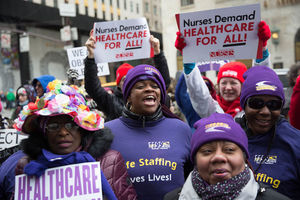 Black, female nurses protesting cuts to health care access
