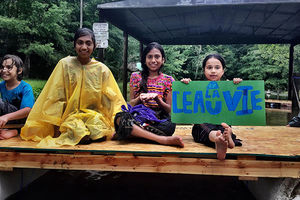 Indigenous children at the L'eau Est La Vie (Water is Life) Camp on June 24, 2017, in southern Louisiana.