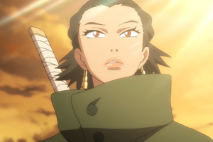 Animation of Black woman in green jacket with white samurai sword handle in front of orange sky