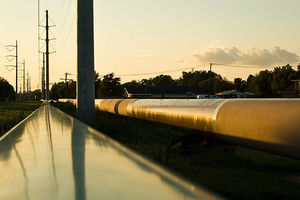 Crude oil pipeline construction in Jefferson County, Texas, in August 2008.