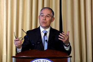 EPA Administrator Scott Pruitt address employees at the agency's headquarters February 21, 2017, in Washington, D.C. Pruitt, long a critic of the EPA, faced a contentious confirmation fight in the Senate.