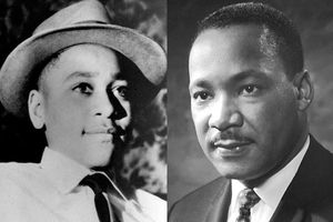 Black-and-white images of Black boy in white shirt with black tie and grey hat next to Black man in black suit and black tie on dark grey background