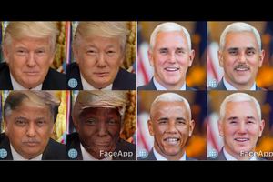Images of White men with filters artificially darkening their skin and altering their features
