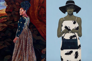Painting of Black woman in brown and black patterned dress in front of brown stone and green and blue desert scenery; Painting of Black woman in black and white dress with black purse and hat in front of light blue background
