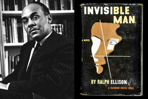 Black-and-white photo of Black man in black suit in front of bookshelf; black book cover with white image and red and yellow text