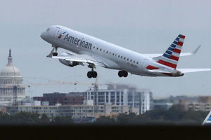 American Airlines airplane takes off