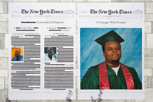 Photos of White man and Black teenage boy on White background with black text and red annotations next to photo of Black teenage boy in green and red graduation robes on blue background within white background with black text, all on grey brick wall