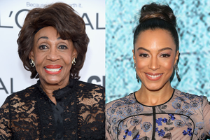 Black woman with brown hair in black dress smiles in front of grey background; Black woman in black and blue blouse smiles in front of light blue background