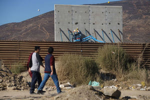 Prototype sections of a border wall between Mexico and the United States