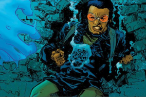 Illustration of Black man in orange glasses and blue and green outfit in front of blue water and teal brick wall