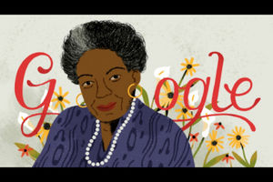 Illustration of Black woman with gold earrings and grey necklace in navy shirt in front of grey background with red letters and yellow and red and white flowers with green stems