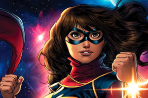 Brown girl with brown hair in red and white and gold superhero outfit in front of pink and blue sky