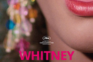 "Brown woman with pink lipstick, with the word ""Whitney"" in pink letters below her fac"