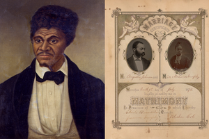 Painting of Black man with black hair in black tuxedo and white shirt in front of brown background; sepia print featuring photographs of Black woman and man surrounded by brown text