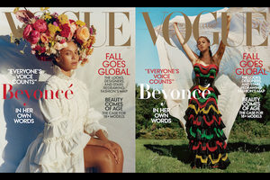 Beyoncé in white dress and multicolored floral head ornament in front of white sheet; Beyoncé in navy and red floral dress holding white sheet while standing on green grass in front of blue sky and green trees