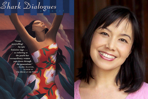 """""""Shark Dialogues"""" book cover featuring Brown woman in red and white and green dress in front of pink background; Lisa Takeuchi Cullen in pink sweater in front of dark red wall"""