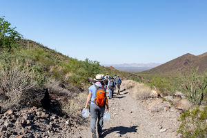 People walking through the desert carrying water jugs. Blue sky above them, scrubby green plants in rocky, sandy soil around them.