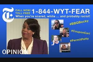 "Niecy Nash. Black woman in tan shirt and maroon checked blazer in front of tan curtains in inset near images of White people on blue background with white text reading ""1-800-WYT-FEAR"" and yellow and white text surrounding images"