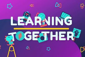 "Light blue text spells ""LEARNING TOGETHER"" on purple background with light green-blue dinosaur and other articles and light blue and orange shapes"