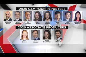 "Portraits of Latinx, Asian and White women and men in front of grey and blue backgrounds set in front of red and white and blue graphic background and underneath black bars with white text spelling ""2020 CAMPAIGN REPORTERS"" and ""2020 ASSOCIATE PRODUCERS"""