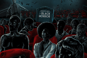 "Illustrations of Black women and men in red movie theater seats in front of a tombstone that spells ""A HISTORY OF BLACK HORROR"" in grey letters"