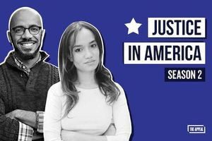 "Clint Smith III and Josie Duffy Rice. Black-and-white images of Black man in glasses and sweater over plaid shirt and Black woman in white shirt in front of blue background near black and white text blocks that read ""JUSTICE IN AMERICA"" and ""SEASON 2"""