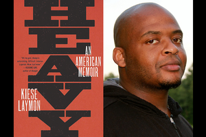 "Cover art for ""Heavy: An American Memoir"" and Kiese Laymon. Black text spells ""HEAVY"" and white text spells ""AN AMERICAN MEMOIR"" and ""KIESE LAYMON"" on red background; Black man in black hooded sweatshirt poses in front of green trees and grey sky"