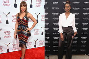 Robin Thede and Issa Rae. Black woman poses in black and red and blue dress on red carpet in front of white wall with black icons and red text; Black woman poses in white shirt and black pants in front of black wall with white text