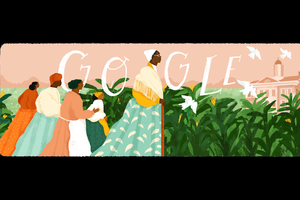 "Sojourner Truth. Illustration of Black woman in yellow shirt and green and white dress and white headwrap leading Black women in multicolored clothing in front of green shrubs and pink house and sky and white text that spells ""GOOGLE."""