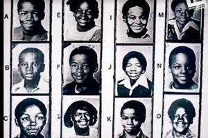 Three rows of black and white head shots of Black Children, 3 in each row, from a police report that identifies missing and murdered children.