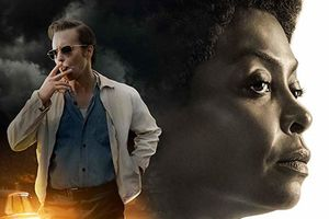Taraji P. Henson and Sam Rockwell. Large sepia-tone image of Henson's face in profile, color image of Rockwell's full body in a tan jacket and denim shirt, smoking a cigarette