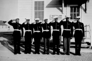 Black and white photo of a group of the Black soldiers in their dress uniforms.