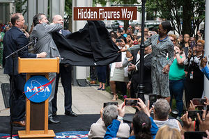 "Hidden Figures Way. NASA Administrator Jim Bridenstine, left, U.S. Senator Ted Cruz (R-Texas), second from left, D.C. Council Chairman Phil Mendelson, third from left, and Margot Lee Shetterly, author of the book ""Hidden Figures,"" right."