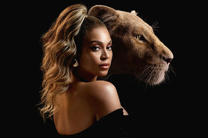Beyonce. Black woman with blonde high ponytail wearing off-shoulder black top in front of image of lion head.