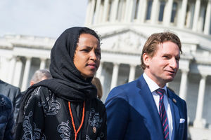 Ilhan Omar and Dean Phillips on Capitol Hill in Washington, D.C.