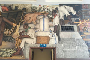 Mural in San Francisco's George Washington High School depicting Black people performing manual labor.