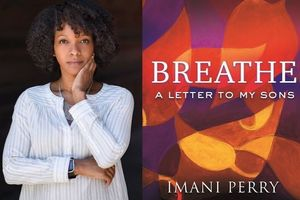 Imani Perry. A Black woman in a white shirt next to a multicolored book jacket