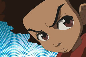 Huey. Animation of a young Black boy with dark Afro and big eyes.