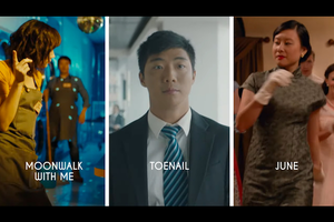 Three images. First is dancing Asian woman with bright lights on her, second is an Asian man in a black suit, walking toward the camera, third is an Asian woman in short white gloves and dark dress, dancing.