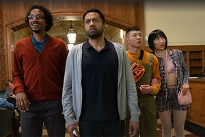 """Sunnyside."" Diverse cast of Asian Americans standing in a courtroom."