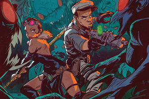 """Bitter Root"" comics panel shows Black people with weapons in lush, colorful surroundings"