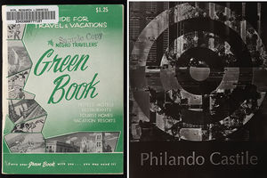 """""""The Green Book"""" cover art (1940) and black and white photograph featuring the name """"Philando Castile."""""""